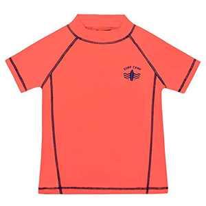 Cadocado Big Boys' Rashguard Shirt Short Sleeve Swim Shirt UPF 50+ Protective Bathing Suit Top,Fluorescent Orange,12Y