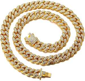 HUITIAN Mens Cuban Link Chain Gold Silver Bling Miami Cuban Necklace Diamond Chain for Men Iced-Out Hip Hop Jewelry 20 inch