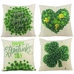 ANPHSIN 4Pcs Happy St Patricks Day Throw Pillow Cover- 18 × 18 Inches Green Shamrock Clover Cotton and Linen Throw Pillow Case Cushion Cover for St. Patricks Day Home Sofa Couch Spring Decor