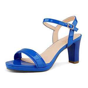 DREAM PAIRS Women's Royal Blue Pu Open Toe Chunky High Heels Dress Pump Heel Sandals Size 8.5 B(M) US Ria