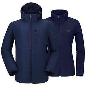 Mens 3 in 1 Winter Jacket Waterproof Ski Jacket Snow Coat Windproof Hooded with Detachable Liner Blue XX-Large
