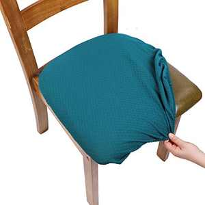 SearchI Chair Seat Covers, Stretch Spandex Jacquard Dining Room Chair Seat Covers Removable Chair Seat Cushion Slipcovers for Dining Room, Anti-Dust & Machine Washable - Set of 6, Teal