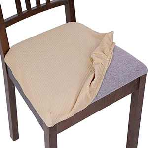 SearchI Stretch Spandex Jacquard Dining Room Chair Seat Covers, Removable Chair Seat Cushion Slipcovers for Dining Room Kitchen, Anti-Dust & Machine Washable - Set of 6, Pale Yellow