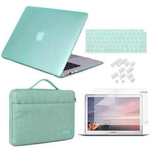 DQQH for MacBook Air 13 inch Case 2020 2019 2018 Release A2337 M1 A2179 A1932 with Retina Display, 5 in 1 Bundle Plastic Hard Shell & Sleeve Bag & Keyboard Cover & Screen Protector & Dust Plug, Green