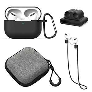 SPRITECH AirPods Pro Case, Protective Dust Guard Soft Silicone Cover,[Scratch-Resistant Wireless Charging] Shell [Front LED Visible] for AirPods 3rd Gen 2019,Skin with Anti-Dropping Rope/Climbing Buck
