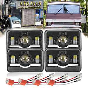 4X6 Inch LED Headlights Dot Approved H4 4PCS 45W High Low Sealed Beam Rectangular LED Headlight Projector with DRL Angel Eyes Headlamp Replace H4652 H4651 H4656 H6545 H4666 H4668 H4642
