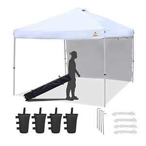 ISAGAPOY Pop up 10x10 Canopy Tent Compact Canopy by IsagapoY, Portable Shade Instant Folding Better Air Circulation Canopy with Wheeled Bag x1 Sidewall x1 Canopy Sandbags x4 Tent Stakes x4 (White)