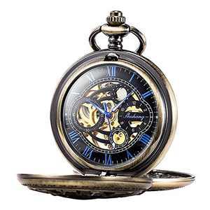 Pocket Watch Skeleton Mechanical Double Case Hand-Wind SIBOSUN Roman Numerals Antique Chain Mens (Bronze Blue)