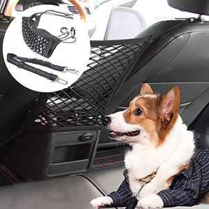 STARROAD-TIM Car Dog Barrier Pet Front Seat Barrier Adjustable Pet Belt Safety Leads Vehicle Seatbelt Harness Car Backseat Barrier Net Organizer Universal Fit