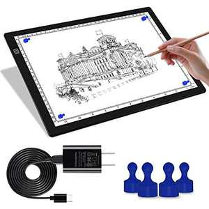 Magnetic Light Box for Tracing, A4 Light Pad for Drawing with 4 Magnets, 2 Scale (cm & INCH) Portable Ultra-Thin Sketch Pad, Dimmable Light Table for Diamond Painting, X-ray View (4 Magnets Included)