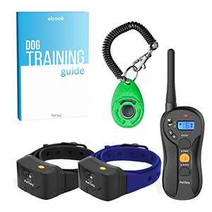 PetSpy P620B Dog Training Shock Collar for 2 Dogs with Vibration, Electric Shock, Beep; Fully Waterproof Remote Trainer with Two E-Collars, 10-140 lbs (Bundle)