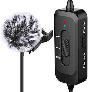 Lavalier Lapel Microphone for iPhone, Camera, PC, Android, with Noise Reduction, USB Charging, Omnidirectional Lapel Microphone for Video Recording, Interview, YouTube, Vlogging