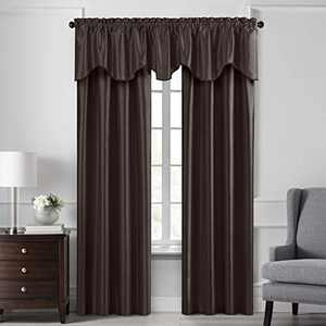 """Elrene Home Fashions Colette Faux Silk Blackout Window Curtain Panel, 52"""" x 108"""" (1, Chocolate"""