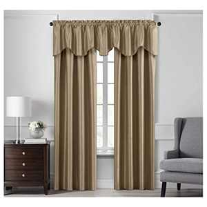 """Elrene Home Fashions Colette Faux Silk Blackout Window Curtain Panel, 52"""" x 108"""" (1, Gold"""