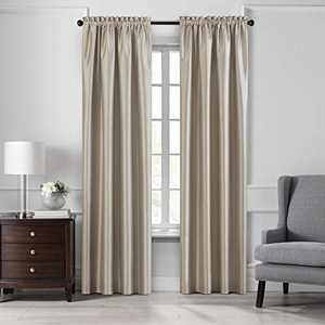 """Elrene Home Fashions Colette Faux Silk Blackout Window Curtain Panel, 52"""" x 108"""" (1, Taupe"""