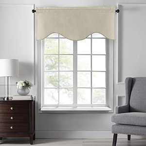 """Elrene Home Fashions Colette Faux Silk Scalloped Window Valance, 50"""" x 21"""", Ivory"""