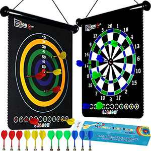 Magnetic Dart Board Game with 12Pcs Magnetic Darts, Indoor Outdoor Dart Game Toy Gift for Kids Ages 6 7 8 9 10 11 12 Year Old
