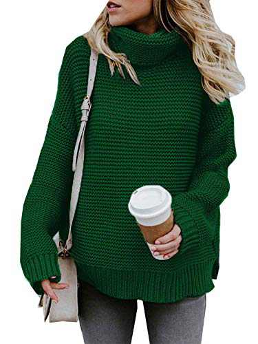 Womens Turtleneck Knit Sweaters Casual Chunky Pullover Long Sleeve Loose Jumper Tops (I-Green, S)