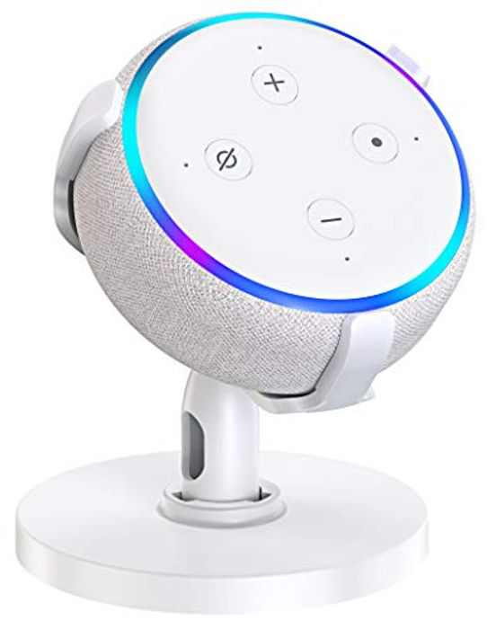 Bovon Table Holder for Echo Dot 3rd Generation, 360° Adjustable Stand Bracket Mount for Smart Home Speaker, Improves Sound Visibility and Appearance, Dot Accessories(White)