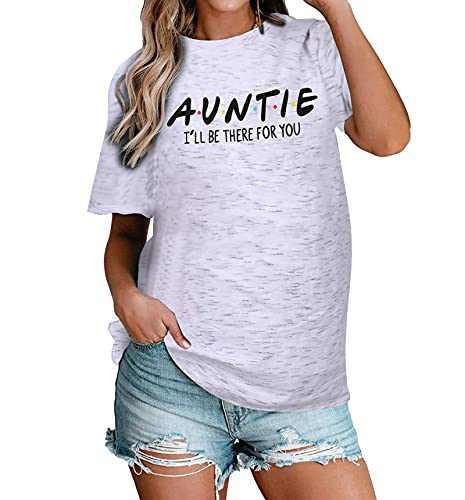 Women Auntie T-Shirt Aunt Vibes Shirt Cute Aunt Gifts Tee Shirt Short Sleeve Casual Shirt (White, L)