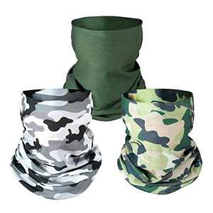 PAMASE 3 Pcs Camo Hunting Face Mask, Camouflage Microfiber Sun UV Dust Wind Protection Face Neck Gaiter Headwear for Motorcycle Hiking Cycling Ski Snowboard Fishing Running Workout