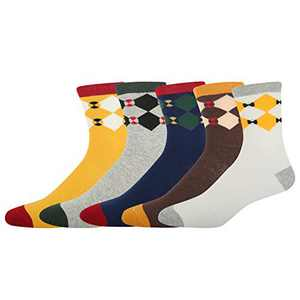Mens Crew Socks Novelty Stripe Argyle Vintage Animals Cotton Soft Socks (Multi Argyle 3)