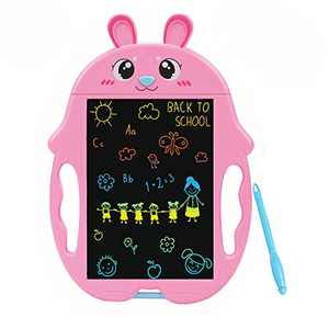 QISHI YUHUA LCD Writing Tablet 9 Inch,Colorful Doodle Board Drawing Board, Birthday Present for 2-6 Years Old Girl, for Little Kids - Pink Rabbit