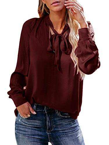 Umeko Womens Bow Tie V Neck Tops Long Sleeve Casual Work Office Elegant Blouses Tunic Shirts Burgundy