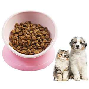 COPACHI Raised Cat Food Bowl, Slanted Cat Dish with Silicone Stand, 360° Tilted Cat Bull Dog Bowl, Anti-Slip Detachable Pet Bowl for Cats and Puppies (Pink)