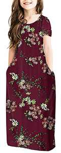 NENONA Girl's Floral Print Short Sleeve Pleated Long Swing Casual Maxi Dress with Pockets(Floral Wine Red-M)