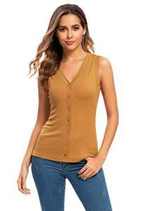 A Grain of Wheat Women's V Neck Tank Tops Casual Sleeveless Shirts Slim Fit Cami Blouses Camel