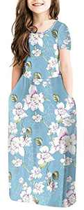 NENONA Girl's Floral Print Short Sleeve Pleated Long Swing Casual Maxi Dress with Pockets(Floral Light Blue-XL)