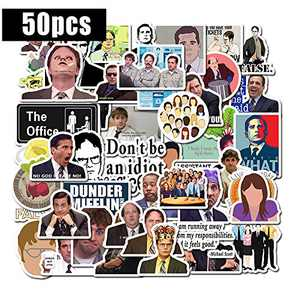 The Office Sticker Pack of 50 Stickers - Funny Vinyl Stickers Pack with Michael Dwight Jim Dunder Mifflin Stickers for Laptop Notebook Computers Water Bottles Guitar Helmet Car Bike, T04