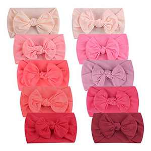 Duoyeree Baby Girl Headbands Bow Soft Stretchy Toddler Nylon Hair Headwraps 0-5T 10 Pack