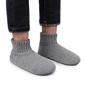 LongBay Men's Comfy Knit Slipper Socks with Ultra Soft Fleece Lining (8-10, Light Gray)