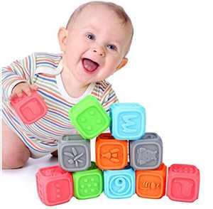 Laelr Baby Blocks Silicone Building Blocks Massage Teethers Chewing Toy Balls Educational Baby Bath Toys Play with Numbers, Shapes, Animals ,Letter& Insect for Boys Girls Kids Toddlers 0-3 Years