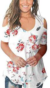 Cold Shoulder Tops Short Sleeve T Shirts V Neck Blouse Casual Criss Cross Tunic White Rose S