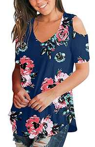 Cold Shoulder Tops Short Sleeve T Shirts V Neck Blouse Casual Criss Cross Tunic Blue Rose XL