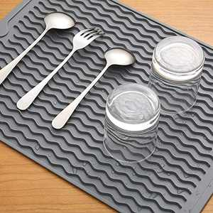 Large 16'' X 12'' Silicone Dish Drying Mat,Durable Dish Drainer,Heat Resistant &Non-Slip Kitchen Pad,Countertop Protector,Easy Clean&Dish Washer Safe(Grey)
