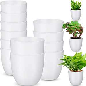 Boao 3-Size Plastic Flower Plant Planters Set of 12 Garden Flower Plant Pots Indoor Modern Planters for House Plants, Flower, Herb, Amaryllis, Foliage Plant and Seed Nursery (White)