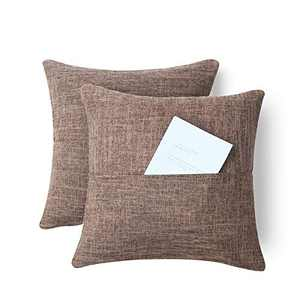 Xinrjojo Pack of 2,Multifunctional Pillow with Pocket, Soft Solid Color Decorative Square Throw Pillow Covers Set, Cushion Cases Pillowcases for Sofa Bedroom Car, 18 x 18 Inch-Coffee