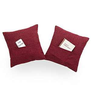 Xinrjojo Gift,Super Soft Multifunctional Decorative Solid Color Square Cushion Cover with Pocket Handmade Pillowcase with Hidden Zipper, 2 Packs, 18 X 18 Inches-Burgundy