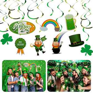 ANPHSIN 30 Pcs St. Patrick's Day Hanging Swirls Decoration- Lucky Irish Green Shamrock Clover St Patrick Day Foil Swirl Ceiling Hanging and Wall Decoration for Saint Irish Party Supplies Decor