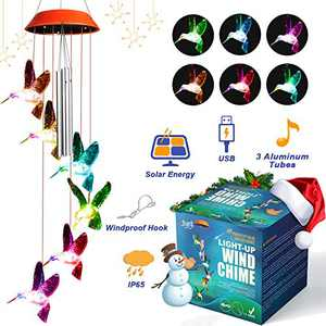 Wind Chimes for Outside JOYXEON Hummingbird Solar Wind Chimes with 3 Aluminum Tubes Solar/USB Powered Anti-Fall Hook 7 Color Changing Modes LED Solar Mobile Hanging Decor for Garden Patio Gift for Mom