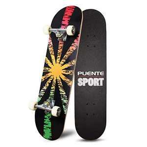 Skateboards 31 inch Pro Skateboard Complete Skateboard for Beginners Kids Teens Adults,7 Layer Canadian Maple Double Kick Concave Standard Pro Tricks Skateboard(Shining)
