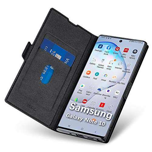 Aunote Samsung Note 10 Wallet Case, Galaxy Note 10 5G Phone Case, Ultra Slim Flip/Folio Cover - Wallet Style: Made of PU Leather (Lightweight, Feels Good) and TPU Inner - Full Body Protection. Black