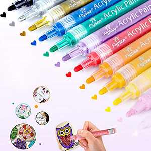 Acrylic Markers, l'aise vie Acrylic Paint Marker Pens for Rock Painting, Wood, Metal, Plastic, Glass, Paper, Canvas, Fabric, Mugs, Scrapbooking Craft, Card Making (3 mm tip, 12 colors)