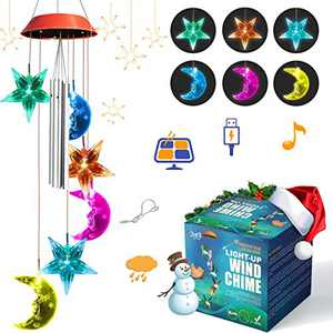 Wind Chimes for Outside JOYXEON Moon & Star Solar Wind Chimes with 3 Aluminum Tubes Solar/USB Powered Anti-Fall Hook 7 Color Changing Modes LED Solar Mobile Hanging Decor for Garden Patio Gift for Mom