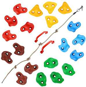 TOPNEW 20 Rock Climbing Holds for Kids, Adult Climbing Rock Wall Grips with 2 Handles, 5.9Ft Knotted Rope for Indoor and Outdoor Playground Play Set - Includes 2 Inch Mounting Hardware