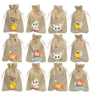 CCINEE 36PC Easter Burlap Bags with Drawstrings Bunny Linen Goody Gift Bags with Double Jute Drawstrings for Party Favor Candy Filler